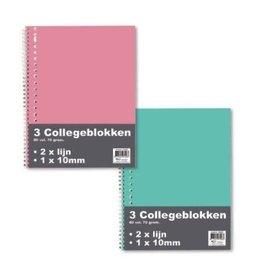 PK3 Collegeblok 2xlijn+10mm sp 23r