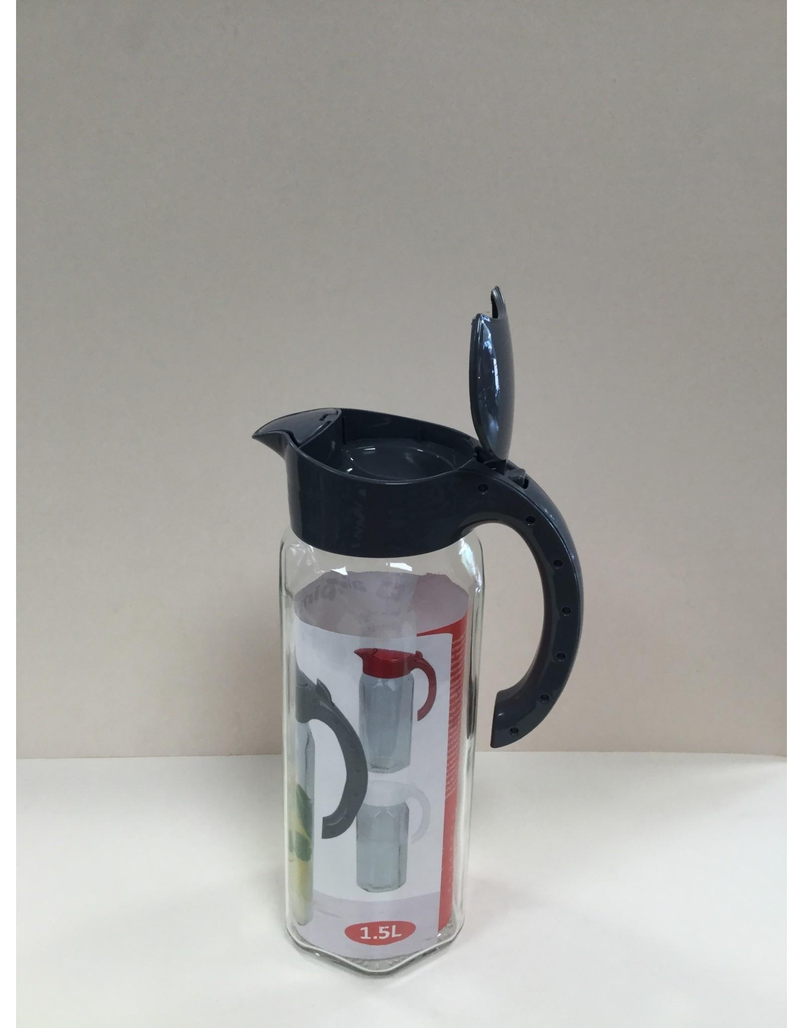Alpina Karaf glas 1,5L met kunststof deksel GRIJS