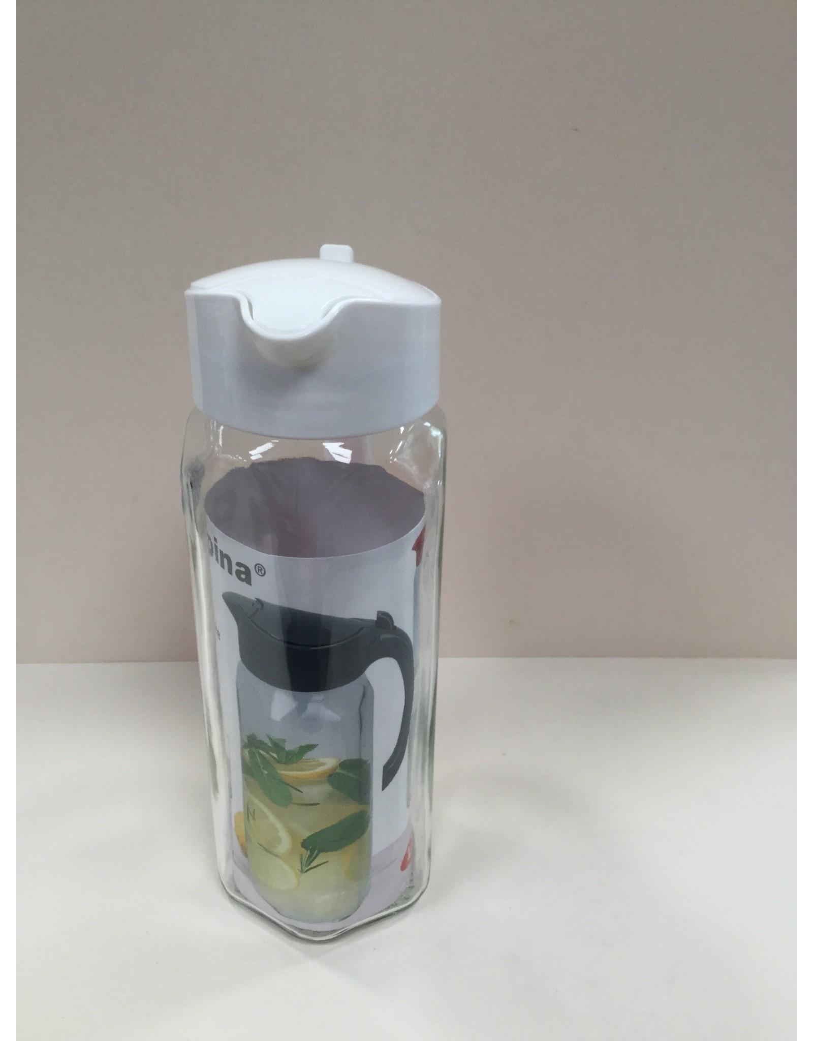 Alpina Karaf glas 1,5L met kunststof deksel WIT