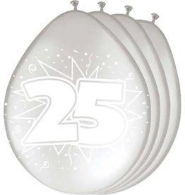 FOLAT 25 Jaar Zilveren Ballonnen - 8 stuks