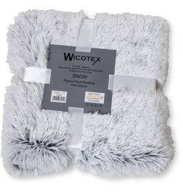WICOTEX Plaid-dekens- kunst bont Snow 150x200cm wit zwart polyester hoog polig