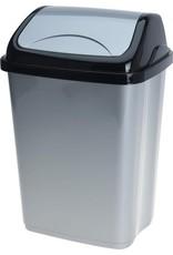 Afvalbak swing 5 Liter zwart/grijs