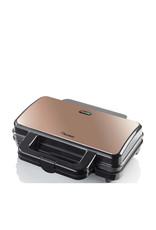 BESTRON Bestron XL Tosti ijzer voor 2 Tosti's, Tosti apparat met antiaanbaklaag & indicatielampje, 1000W, kleur: koper