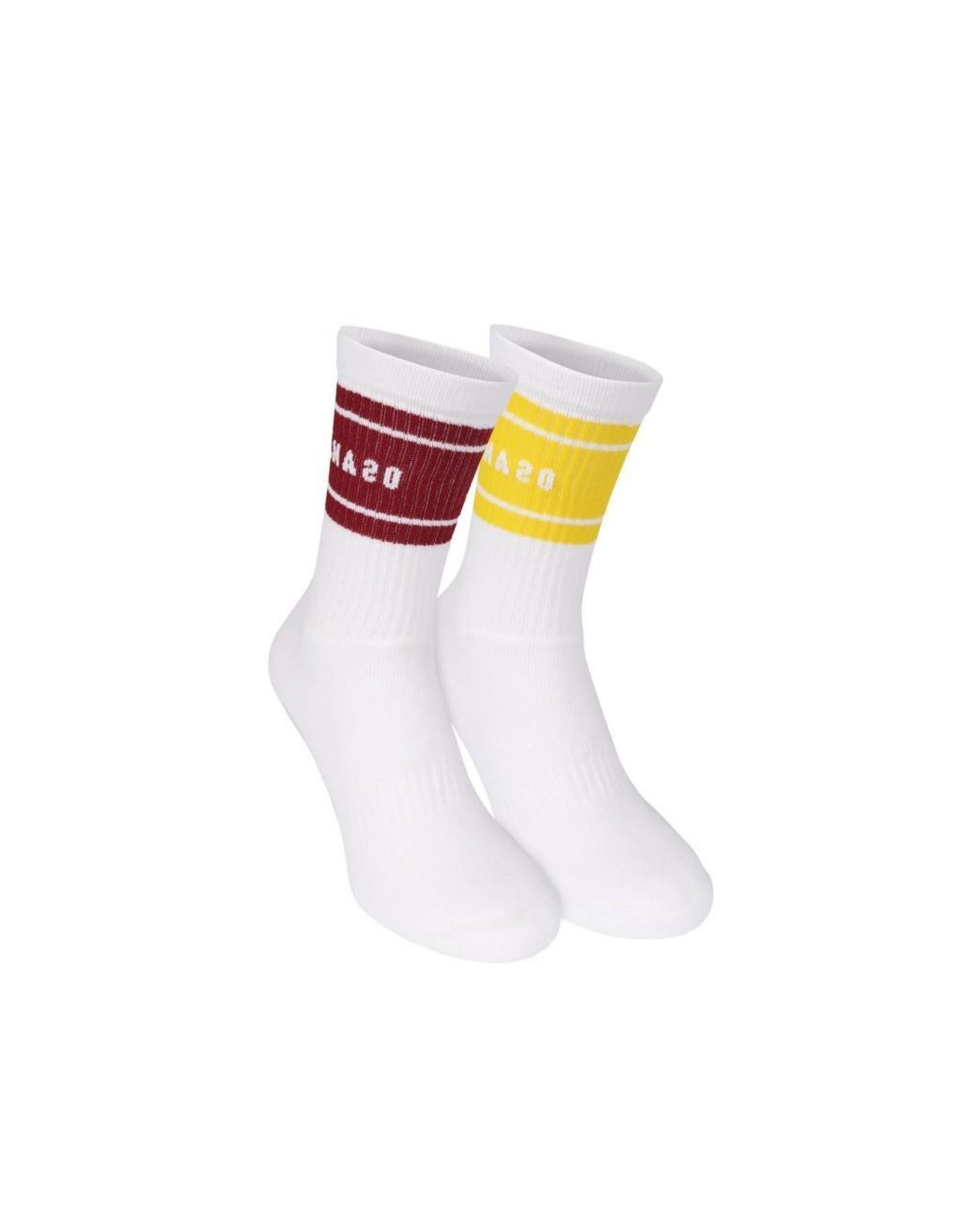Osaka Colourway Socks Duo Pack Maroon/Yellow