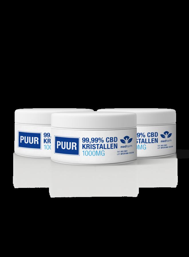 CBD Kristallen - 99.99% - Cannabidiol Poeder - 1000 mg - 3 stuks
