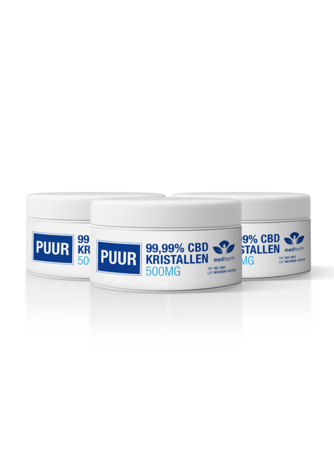 CBD Kristallen - 99.99% - Cannabidiol Poeder - 500 mg - 3 stuks