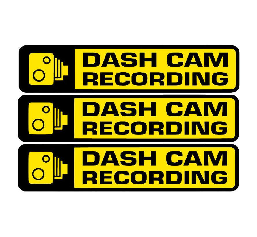 Dashcam waarschuwing stickers 3x