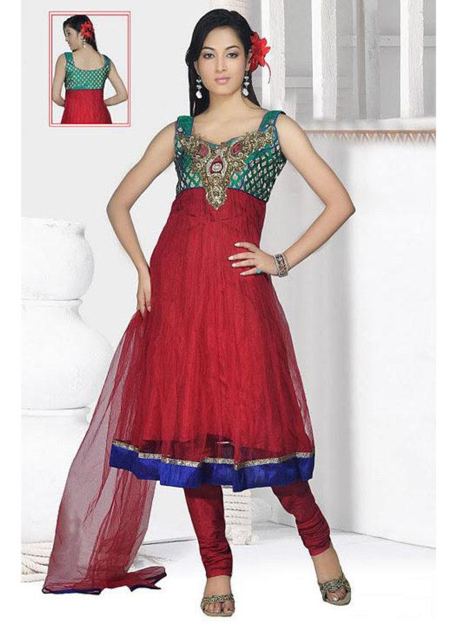 Anarkali Suit in Rot