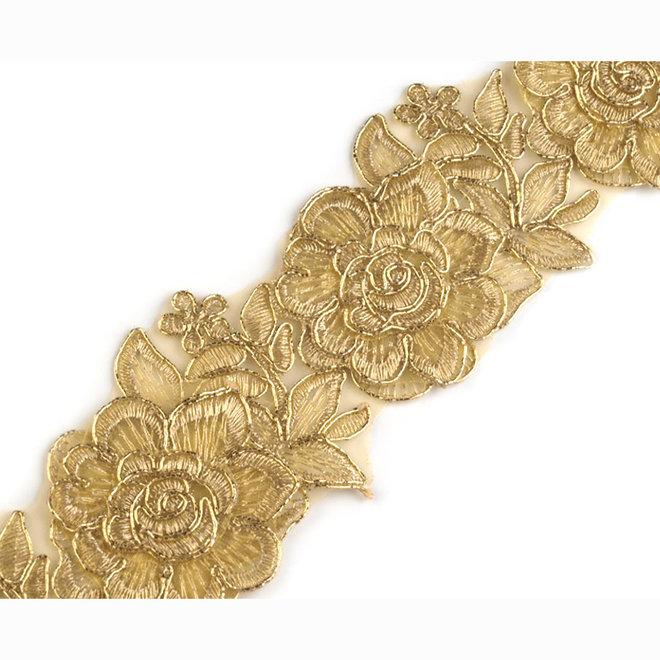 Bestickte Tüllspitzenborte Gold