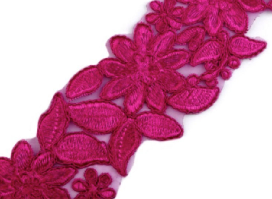 Bestickte Tüllspitzenborte Pink