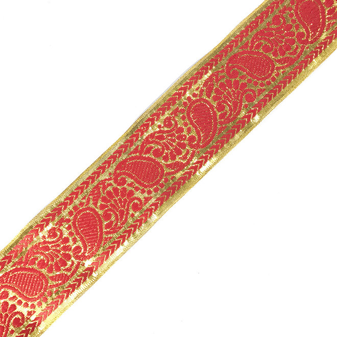 Brokatborte in Rot Gold