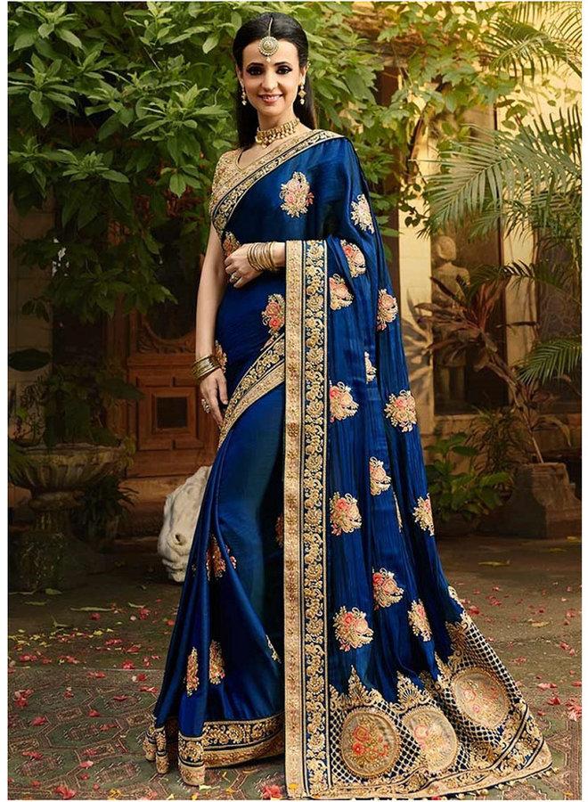 Exklusiver Sari bestickt in Blau und Gold