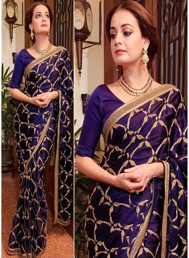 Exklusiver Sari in Blau-Gold aus Sana Silk