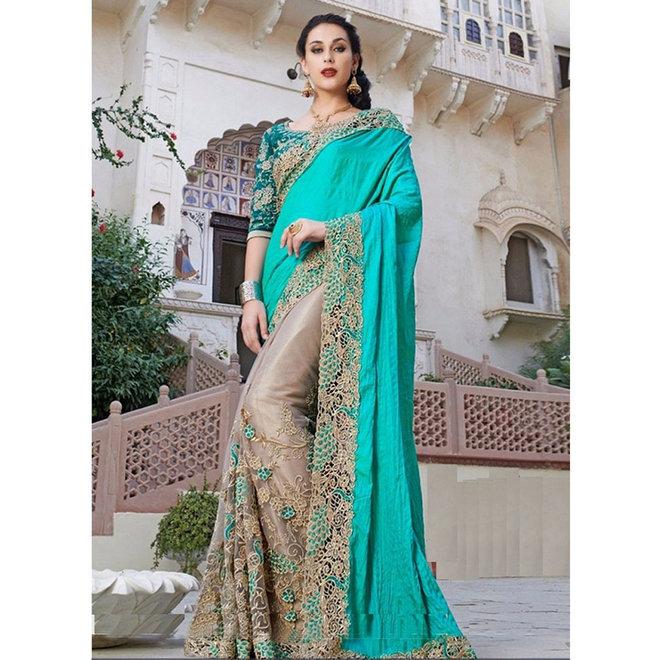 Exklusiver Sari mit Spitze
