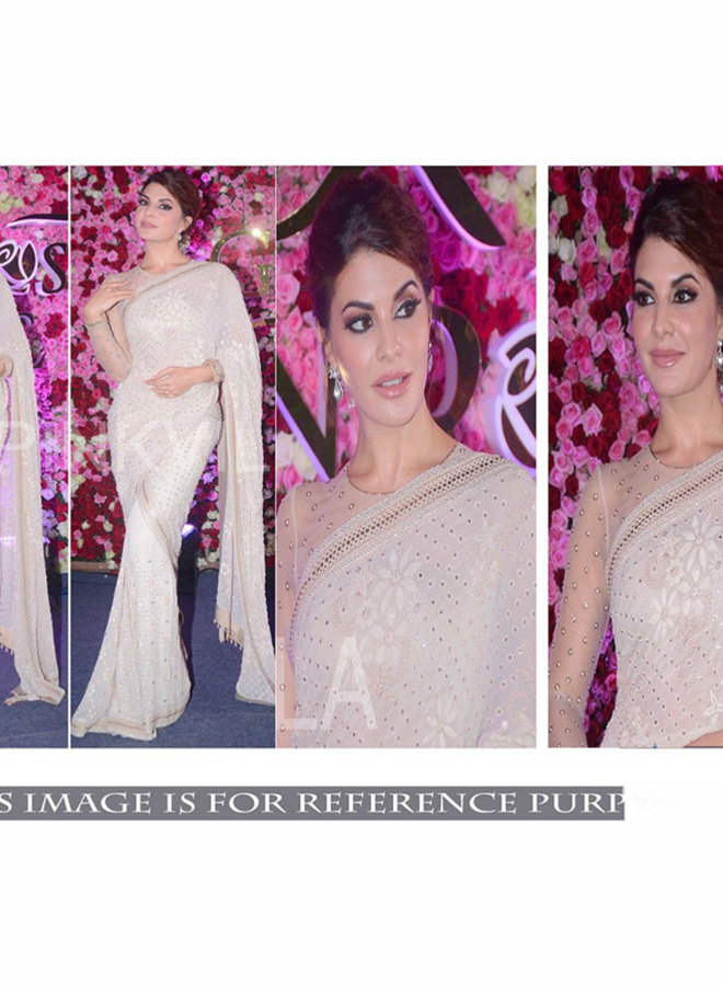 Sari in Creme-Weiss in Lochmuster