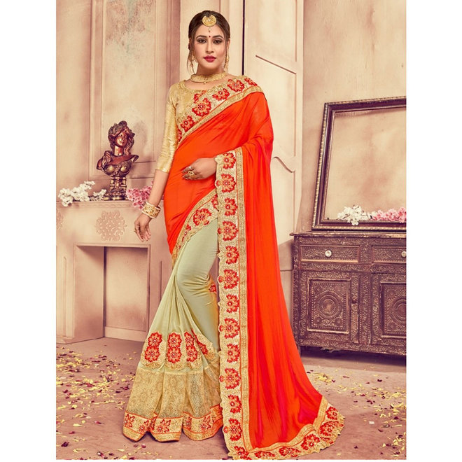 Lehenga Sari in Pistazie, Orange, half and half