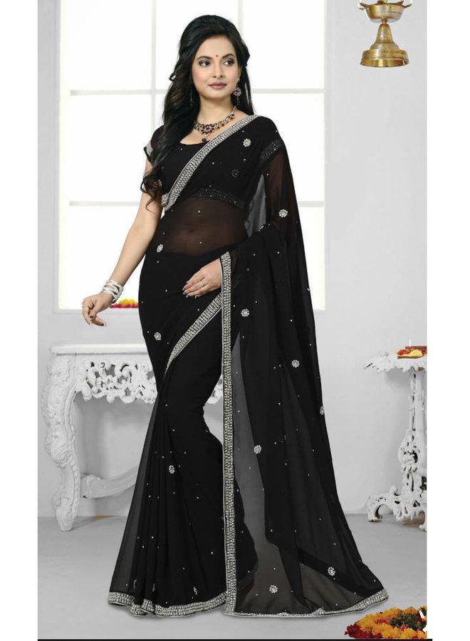 Sari aus Chiffon in Schwarz mit Kristallsteinen