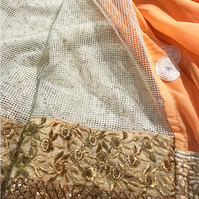 Lehenga Sari  in Apricot
