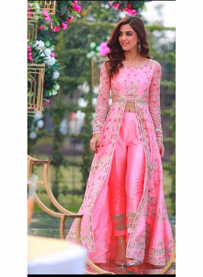 Salwar Kameez in Pink, bestickt (Massanfertigung)