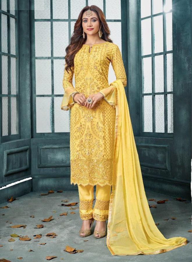 Salwar Kameez in Gelb bestickt (Massanfertigungen)