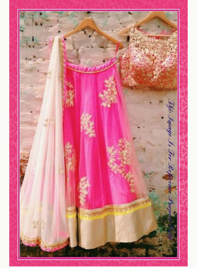 Lehenga Choli in Pink in Grösse 38 + 40