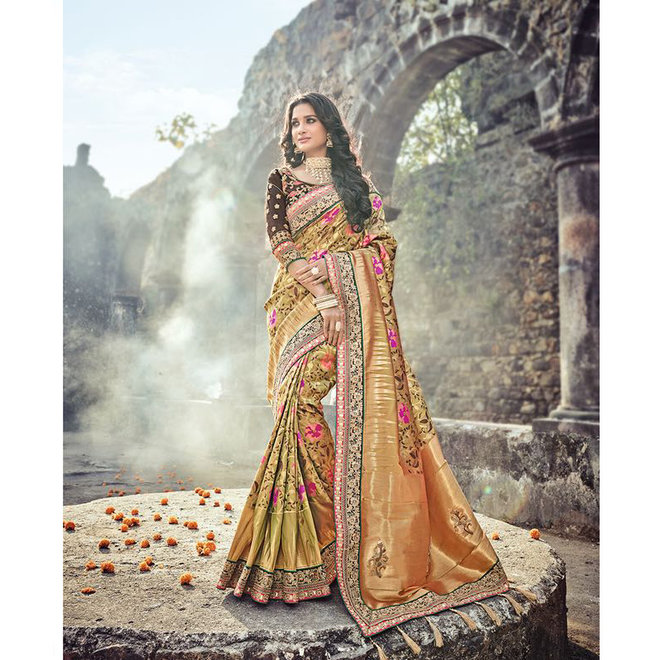 Sari aus 100 % Seide, bunte Webkunst
