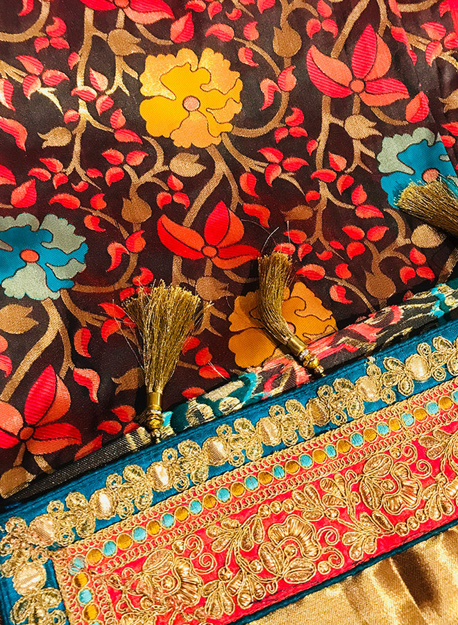 Sari aus 100 % Seide bunt