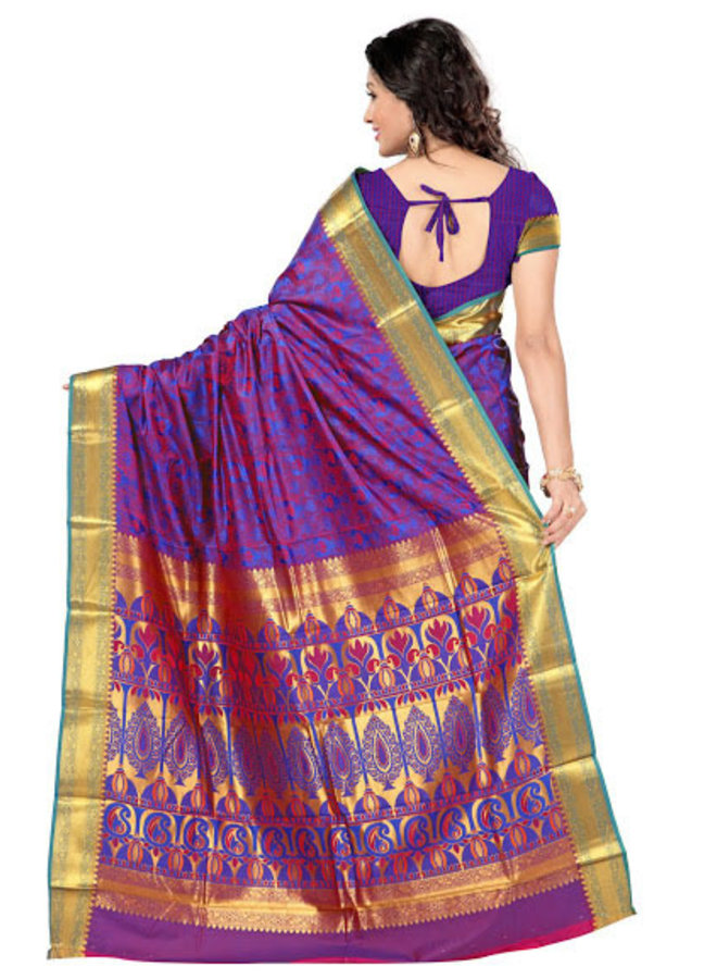 Sari aus Seide in Blau und Rot