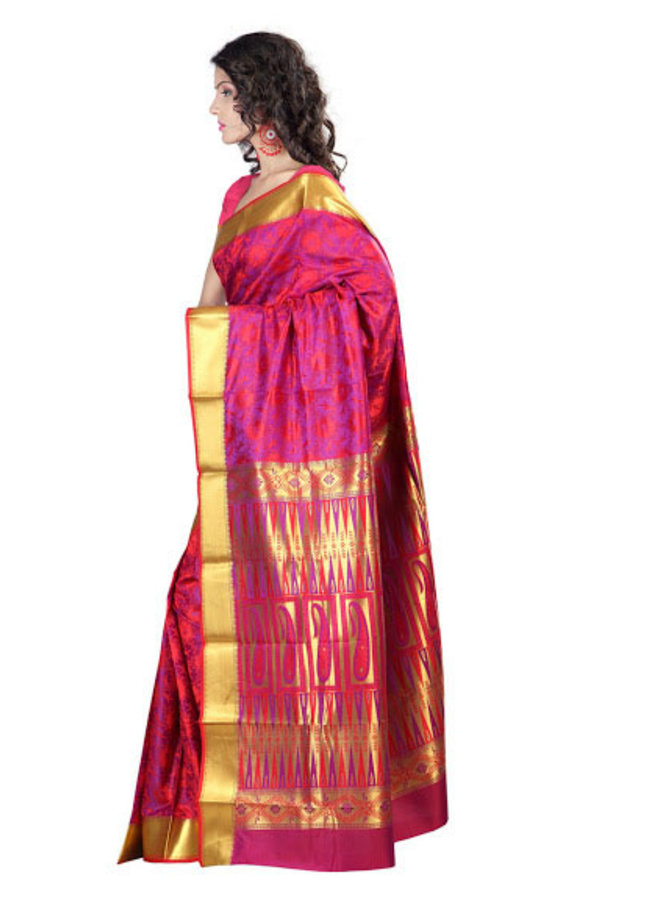 Sari aus Seide in Rot und Violett