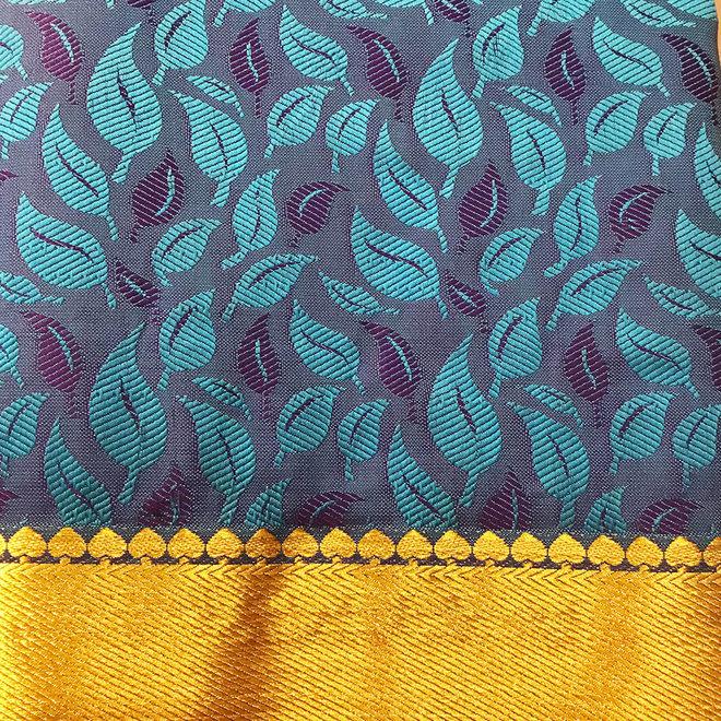 Sari  aus Seide in Blau und Hellblau