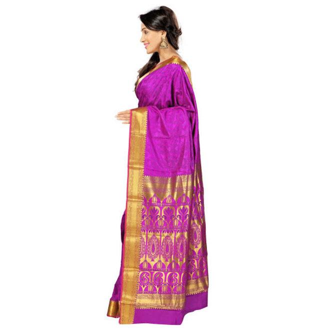 Sari  aus Seide in Pink und Violett
