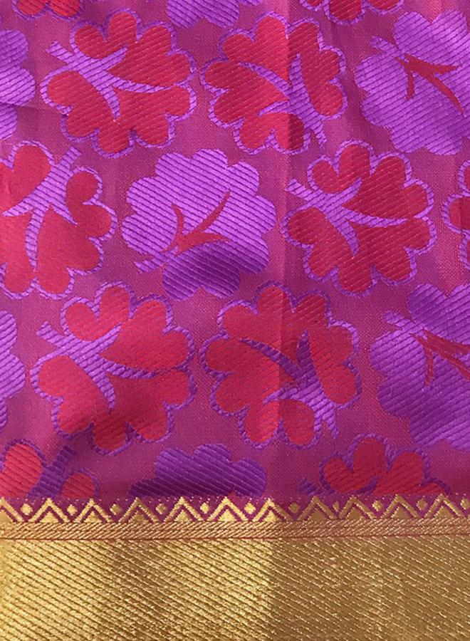 Sari aus Seide in Rot und Lila