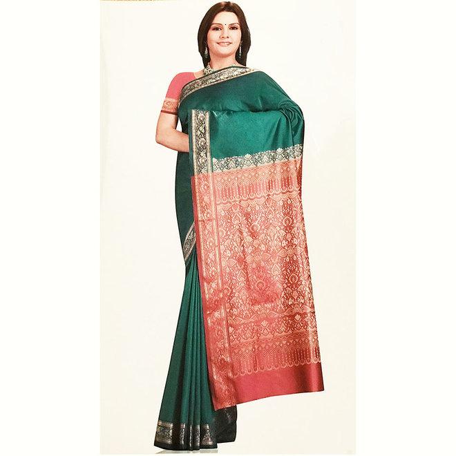 Sari  aus Seide in Grün, Webkunst