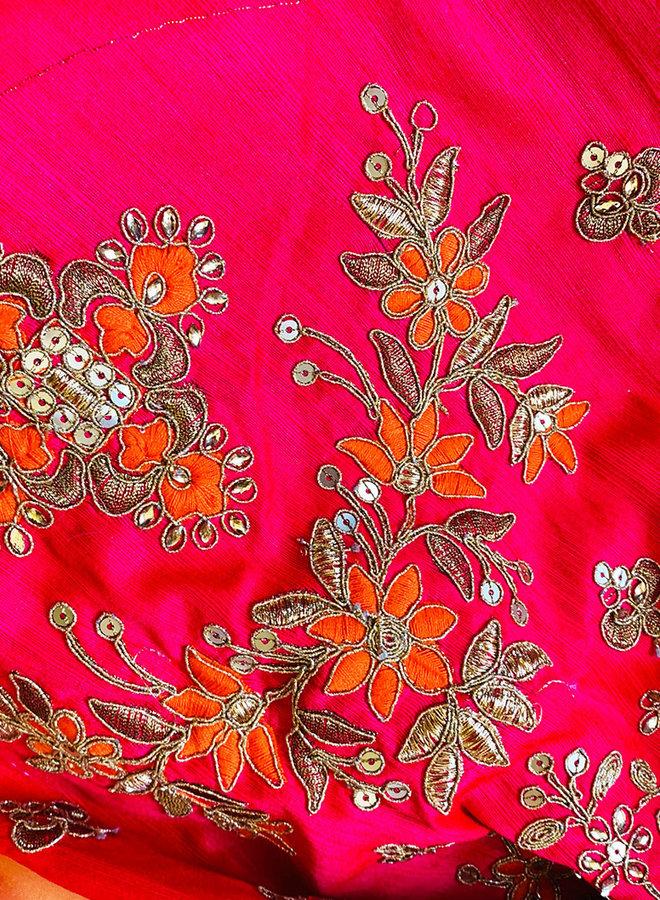 Sari aus 100 % Seide in Rosè