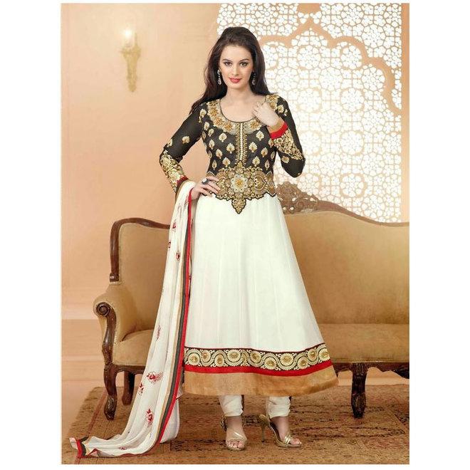 Elegantes Salwar Kameez Suit bestehend aus einem langen Kleid, Hose und Schal