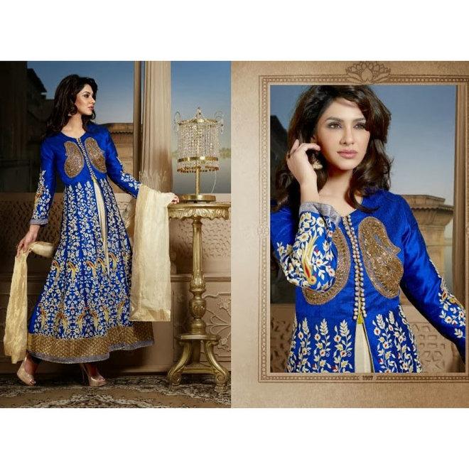 Elegantes Salwar in Blau, Creme