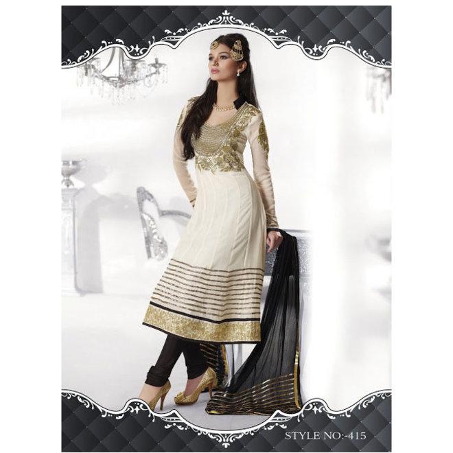 Elegantes Salwar in Creme, Gold