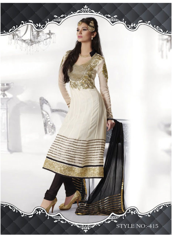 Salwar Kameez  in Creme, Gold