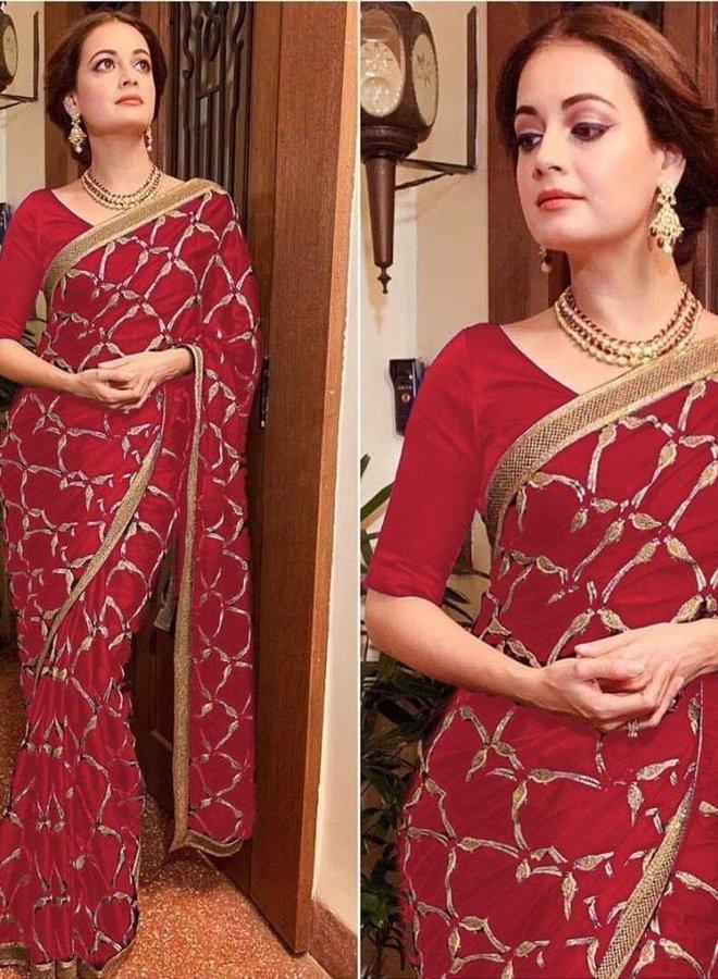 Exklusiver Sari in Rot aus Sana Silk