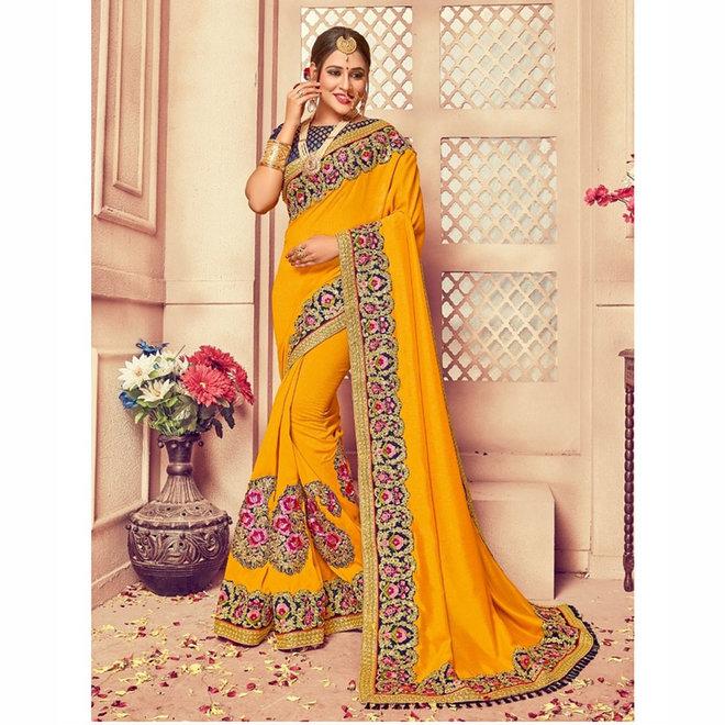 Exklusiver Sari in Gelb, bestickt