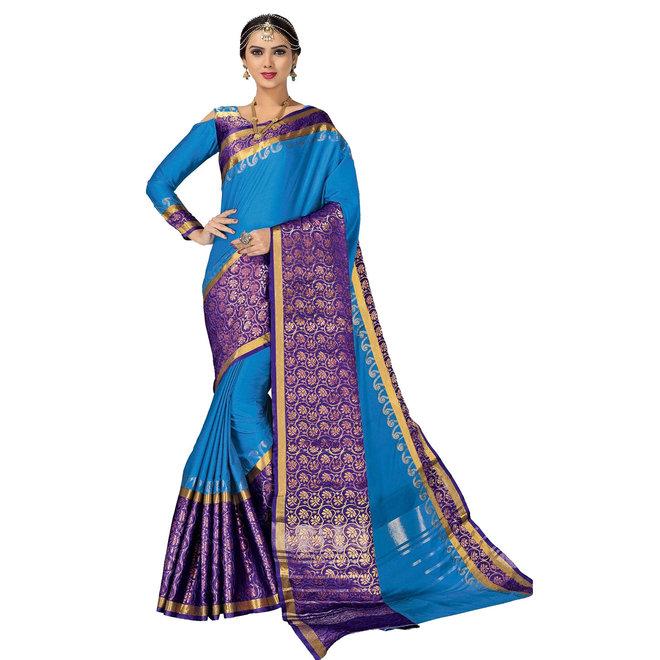 Sari aus Seide in Blau mit schönen Webmustern