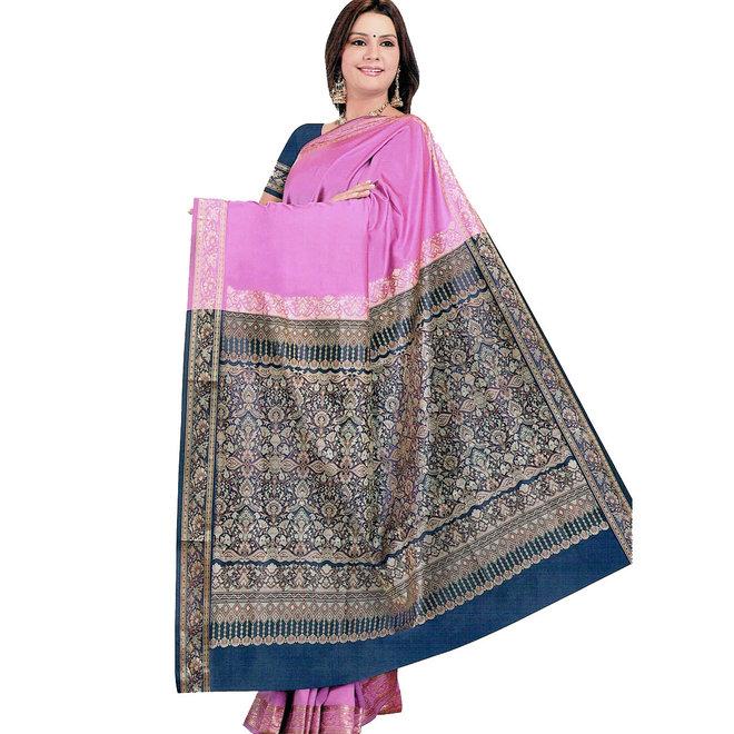 Sari  aus Seide in Pink mit Webmustern
