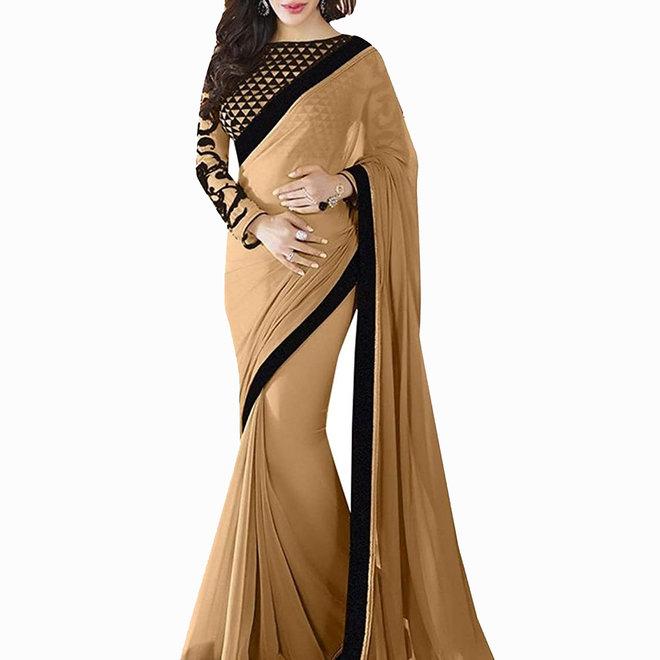 Sari in Chiffon Beige mit Schwarz