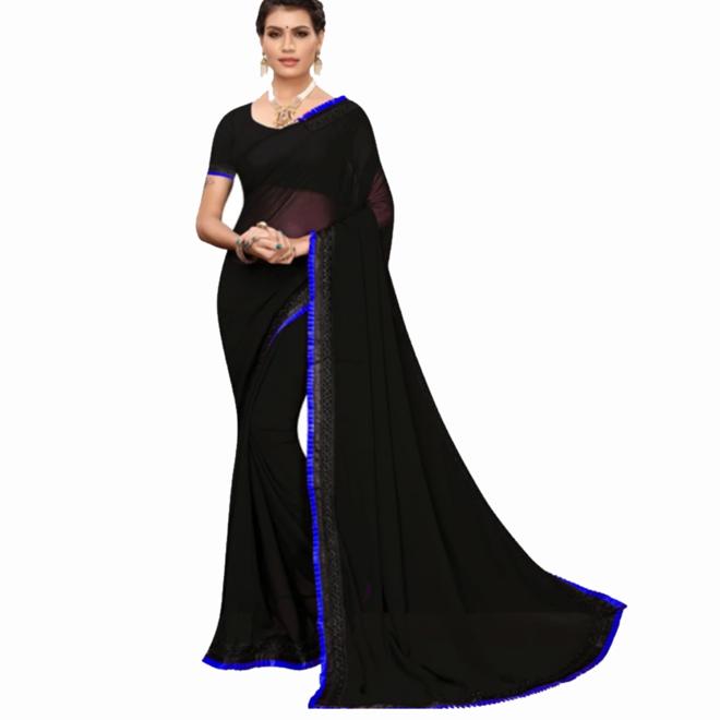 Sari Sana Silk in Schwarz, Blau