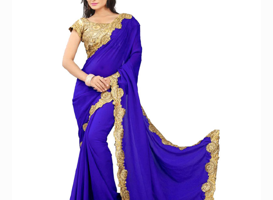 Sari Chiffon in Blau mit eleganter Goldborte