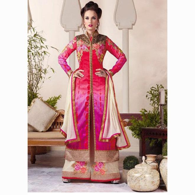 Salwar Kameez  in Pink, Creme