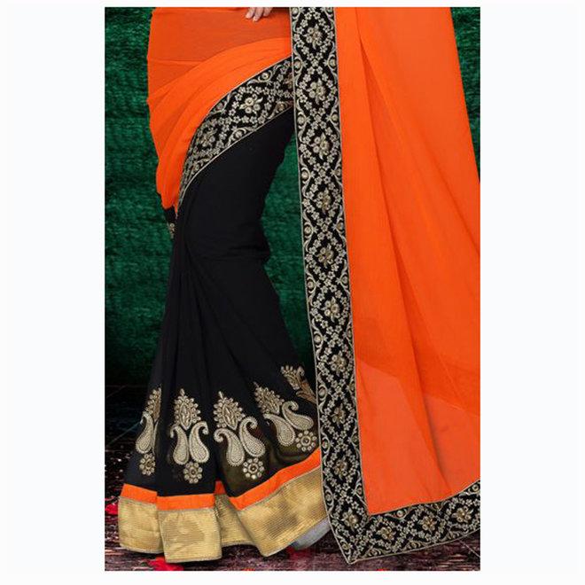 Lehenga Sari in Schwarz, Orange