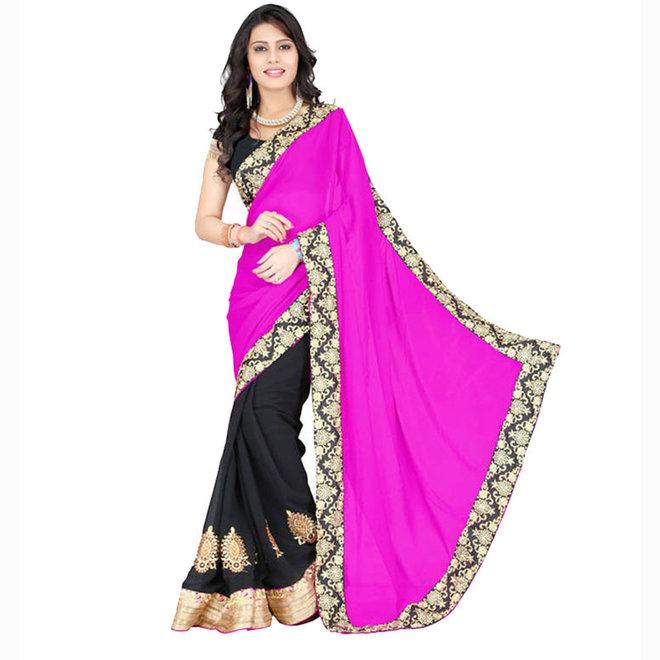 Lehenga Sari in Schwarz, Pink