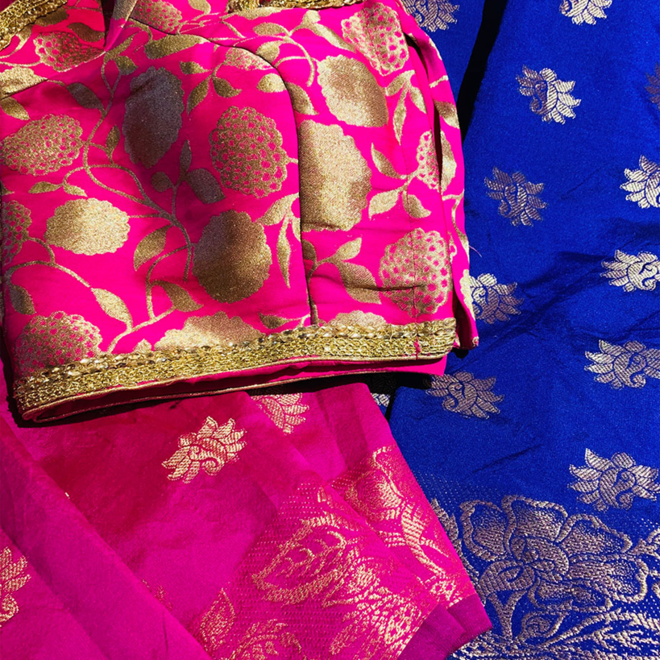 Sari  in Pink, Lila aus Brokatsilk (Komplettpaket)
