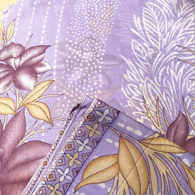 Sari Baumwolle Lila/Violett Handblockdruck